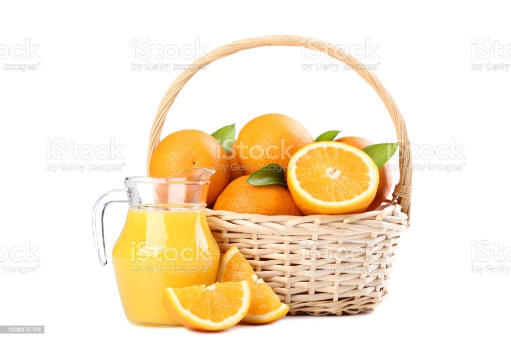 Orange Fruit In Basket And Jug Of Juice Isolated On White Background