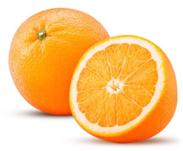 orange fruit one cut in half - orange stock photos and pictures