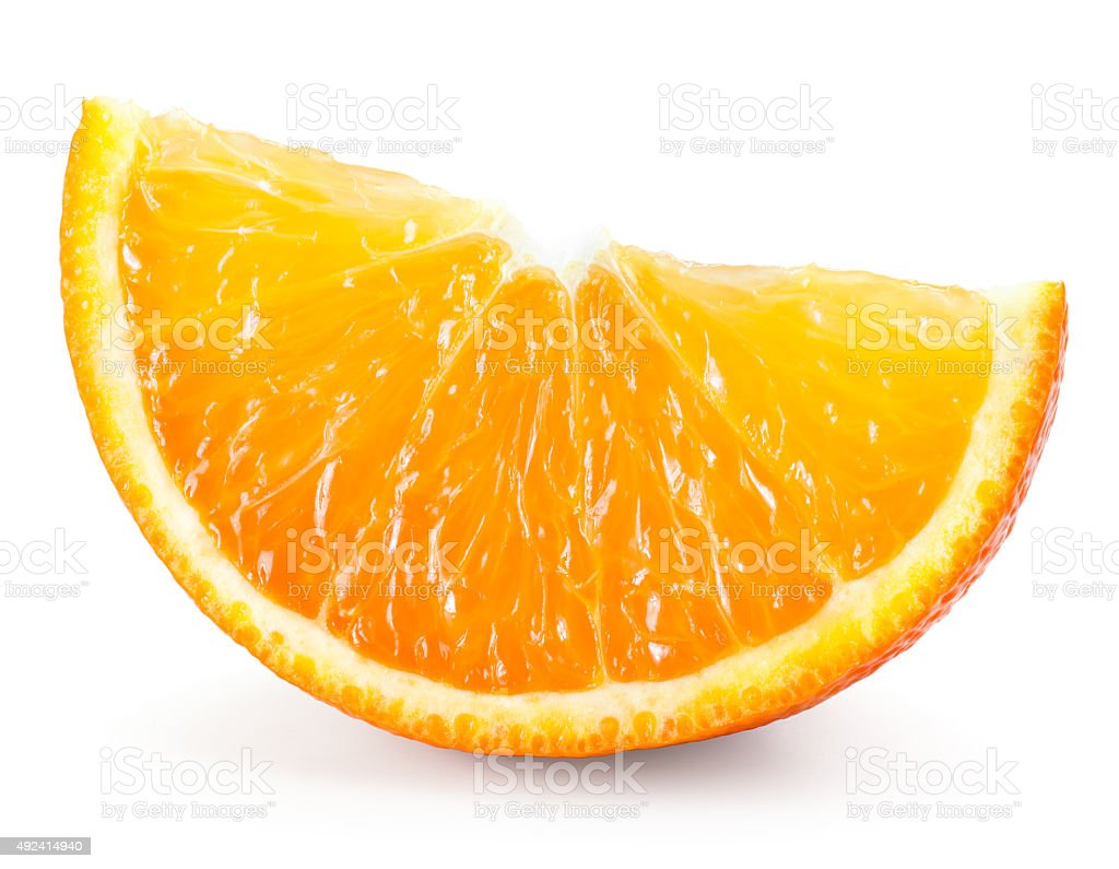 Orange fruit. Slice isolated on white stock photo