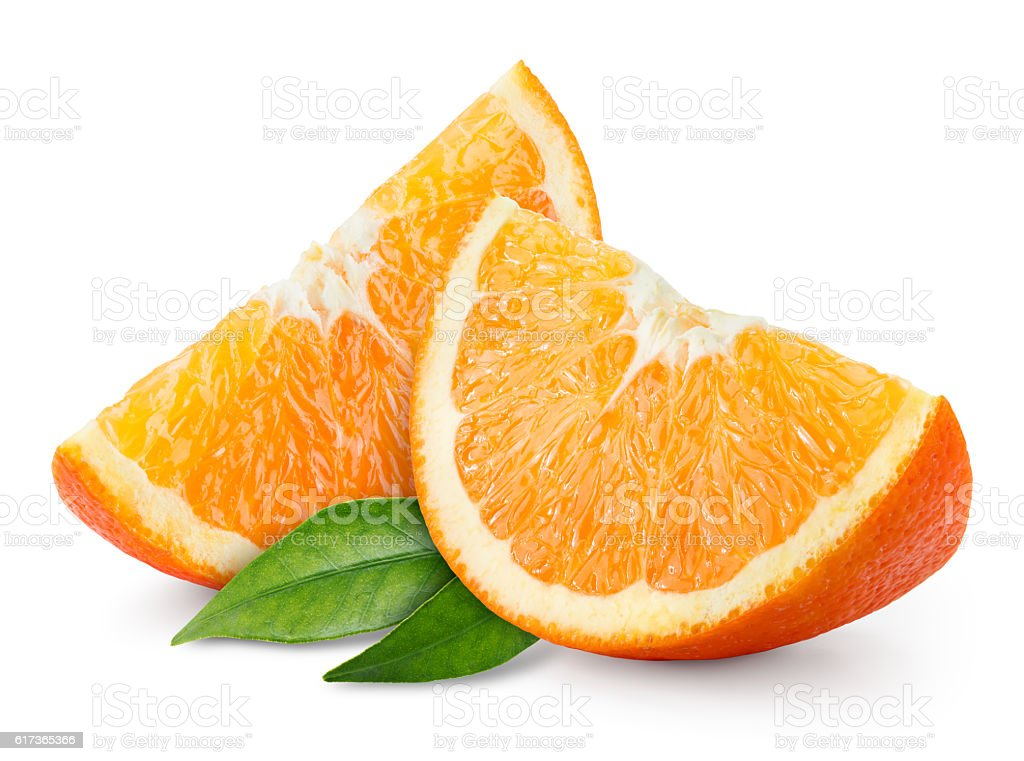 Orange fruit slice isolated on white.
