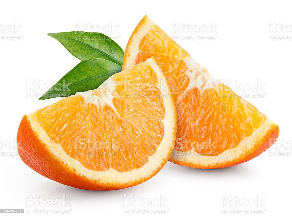 Orange fruit. Slices with leaves isolated on white.