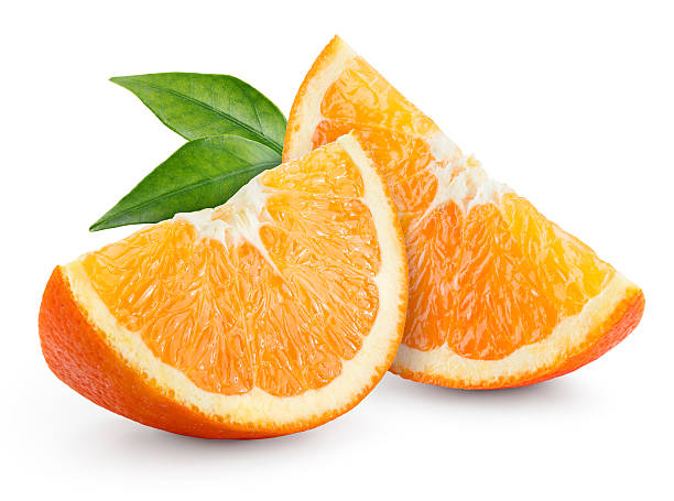 Orange fruit. Slices with leaves isolated on white. stock photo