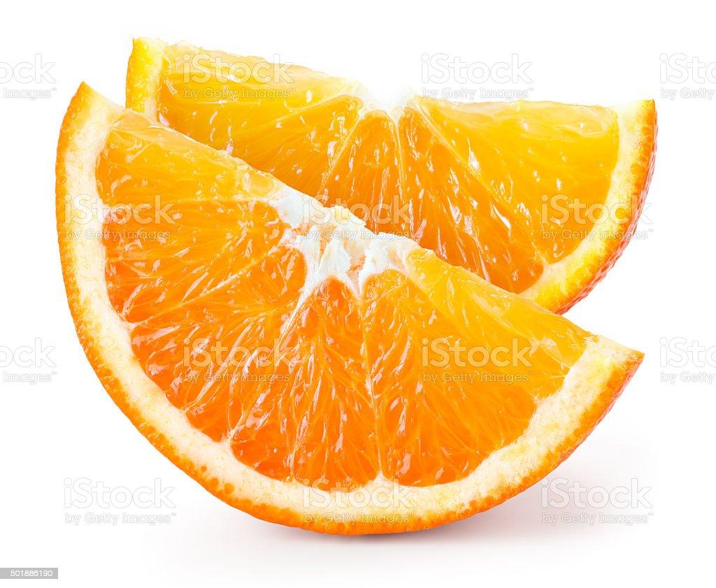 Orange fruit. Two pieces isolated on white stock photo