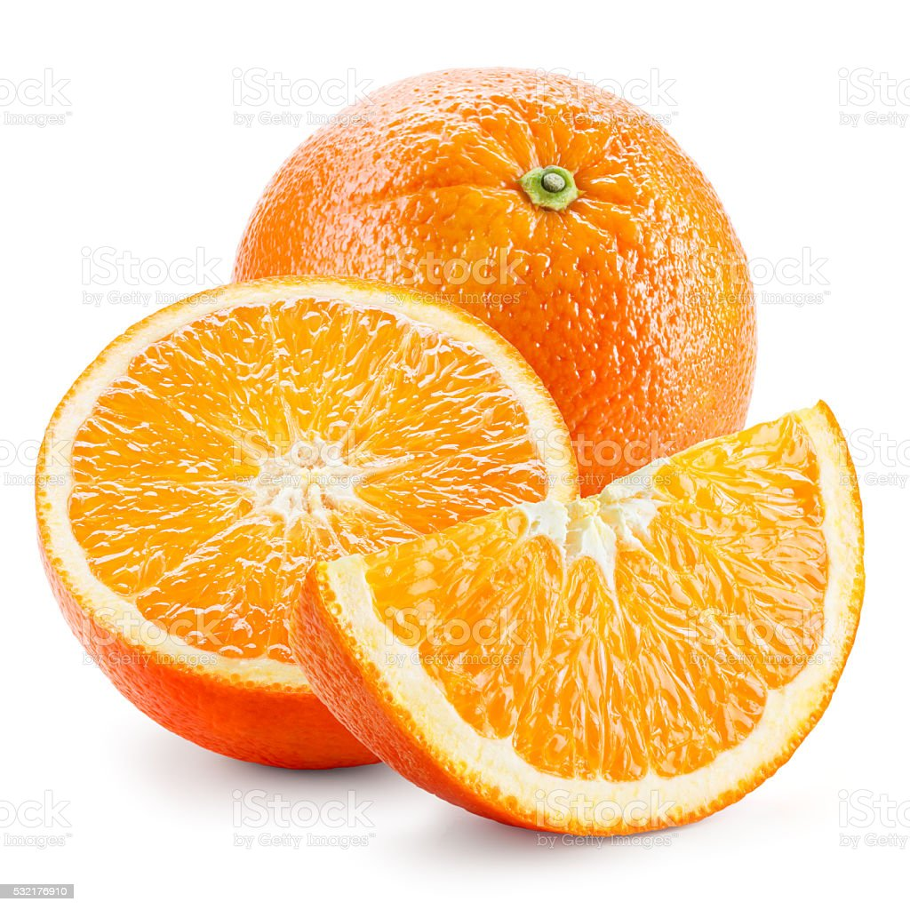 Orange fruit. Whole, half and a piece isolated on white. stock photo