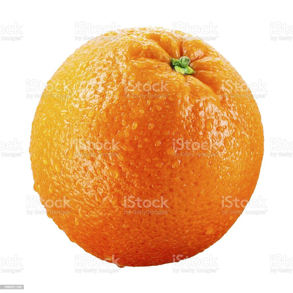 Orange fruit with drops isolated on white background stock photo