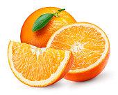 オレンジフルーツ、リーフ白で分離。