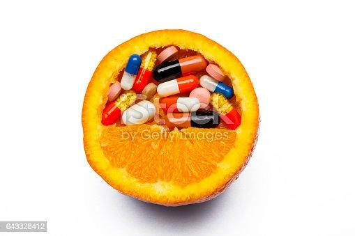 Orange Fruit with Pills