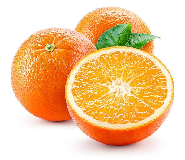 オレンジフルーツ、「wet (ウェット)」では、白で分離 ストックフォト