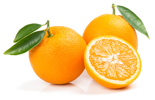 Orange fruits with slice.