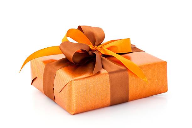 orange gift box stock photo