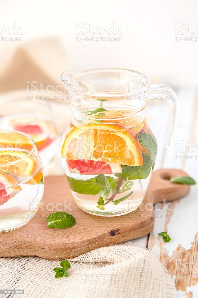 Orange Grapefruit and Mint Detox Water stock photo