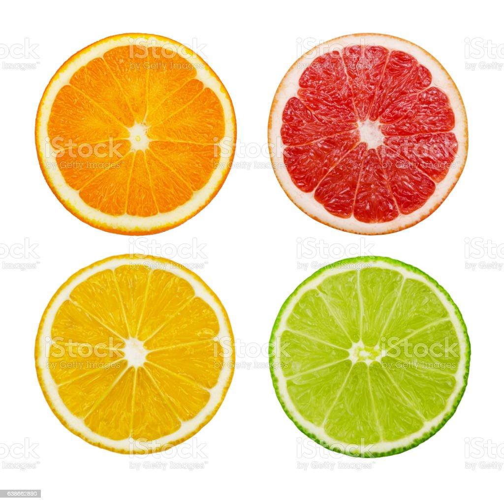 Orange, grapefruit, lemon and lime fruits isolated on white background stock photo