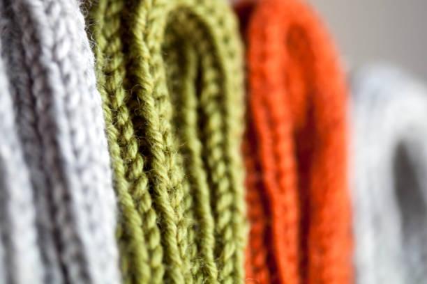 橙色、綠色和灰色羊毛針織紋理 - 針織品 個照片及圖片檔