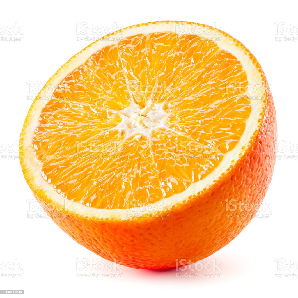 Orange half. Fruit isolated on white background stock photo