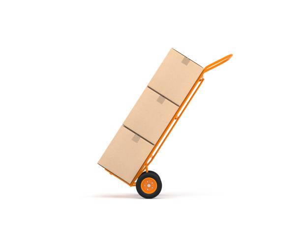 oranje hand vrachtwagen met drie kartonnen dozen geïsoleerd op wit - kruiwagen met gereedschap stockfoto's en -beelden