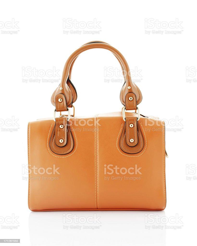 Orange handbag isolated on white background stock photo