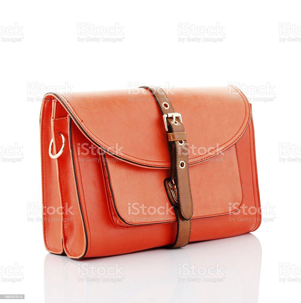 orange handbag stock photo