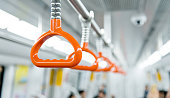 Orange handles in subway train