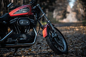 Russia-October 15, 2018: Orange Harley-Davidson Sportster 883 Roadster
