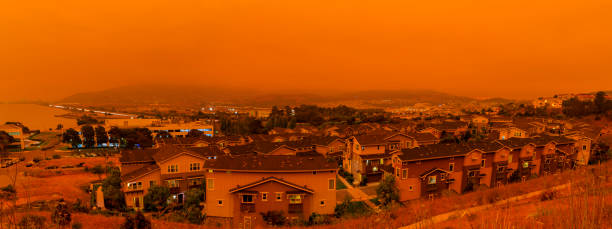Orange haze over San Francisco on September 9 2020 from record wildfires in Californa, ash and smoke in the sky, daytime stock photo
