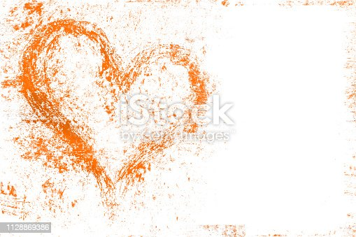 Grunge design with orange heart symbol. It can be used as a Valentine's theme, poster, wallpaper, design t-shirts and more.