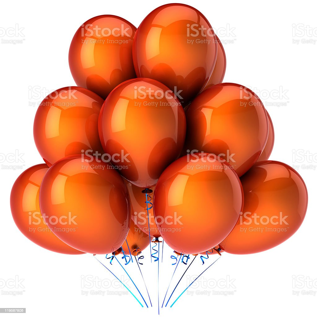 Orange helium balloons birthday party decoration classic stock photo