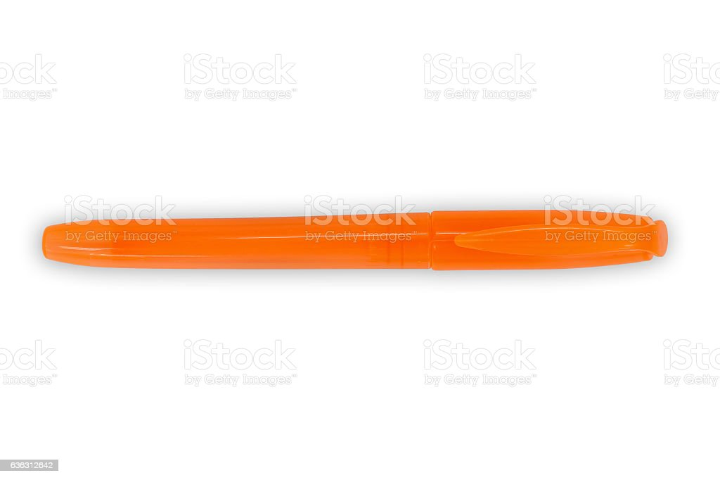 Orange highlighter pen stock photo