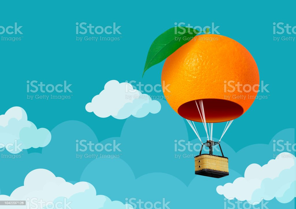 3D orange hot air  balloon floating in the blue sky and cloudy; Air travel and aircraft,Tourism and recreation. Sky objects. stock photo
