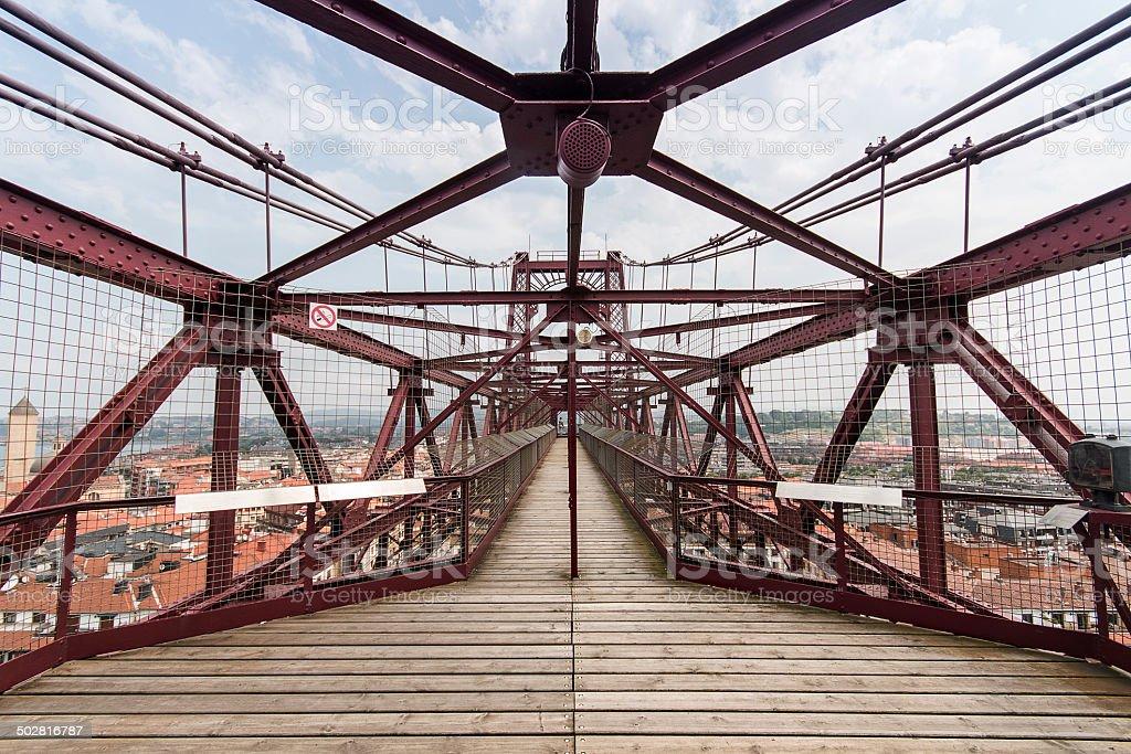 Orange iron bridge in Bizkaia, Portugalete, Spain stock photo