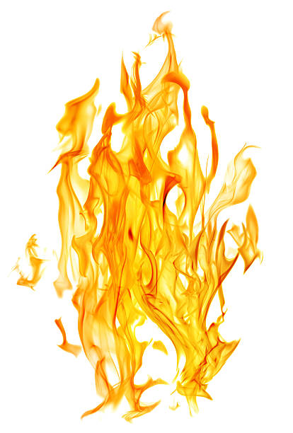 orange isolated fire sparks on white stock photo