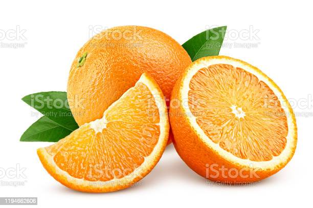 Photo of orange isolated on white background, clipping path, full depth of field