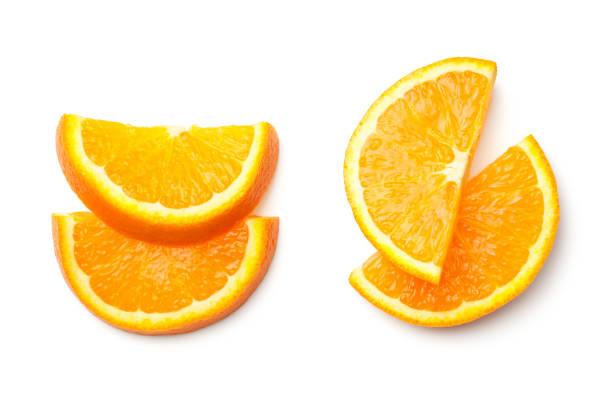 orange, isoliert auf weißem hintergrund - 25 cent stück stock-fotos und bilder