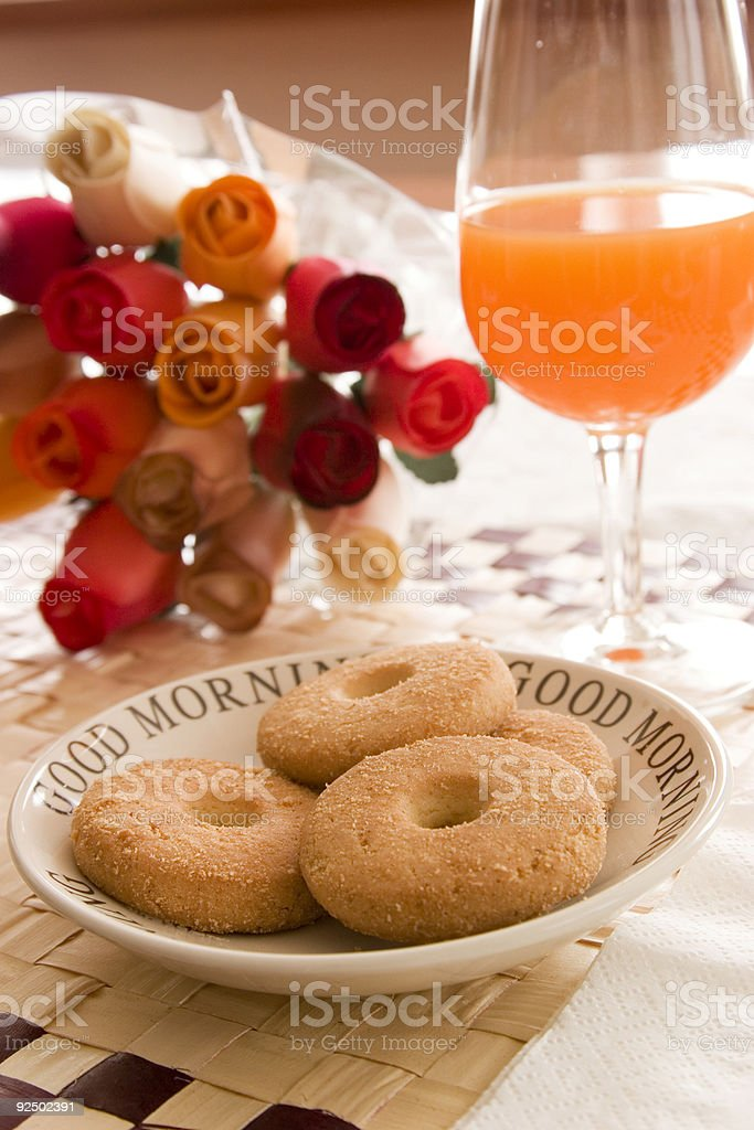 orange juice and buiscuits royalty-free stock photo