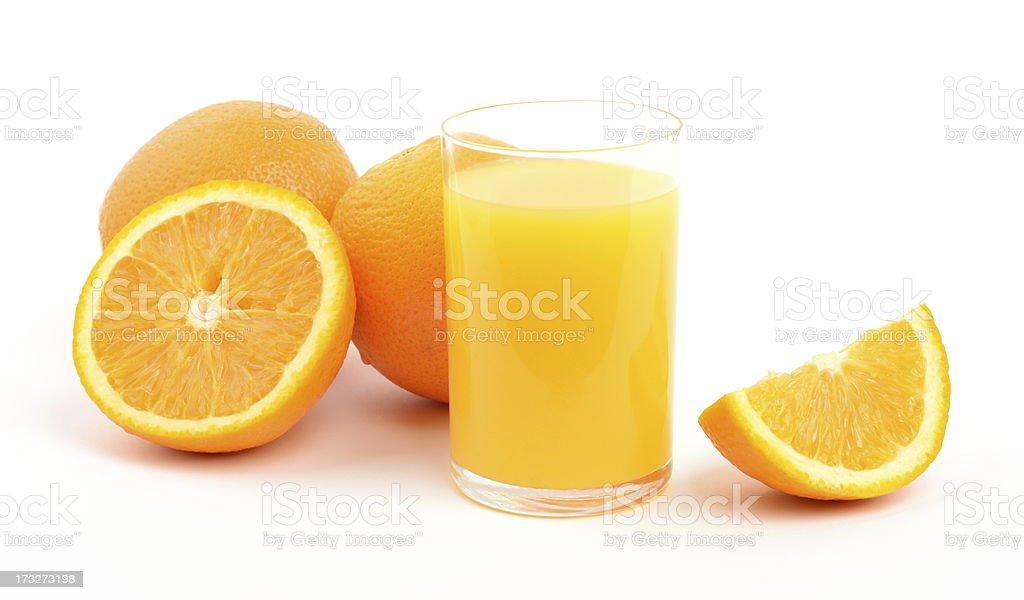 Orange juice and oranges royalty-free stock photo