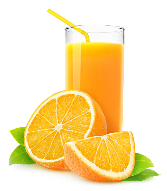 Orange juice and slices of orange isolated on white stock photo