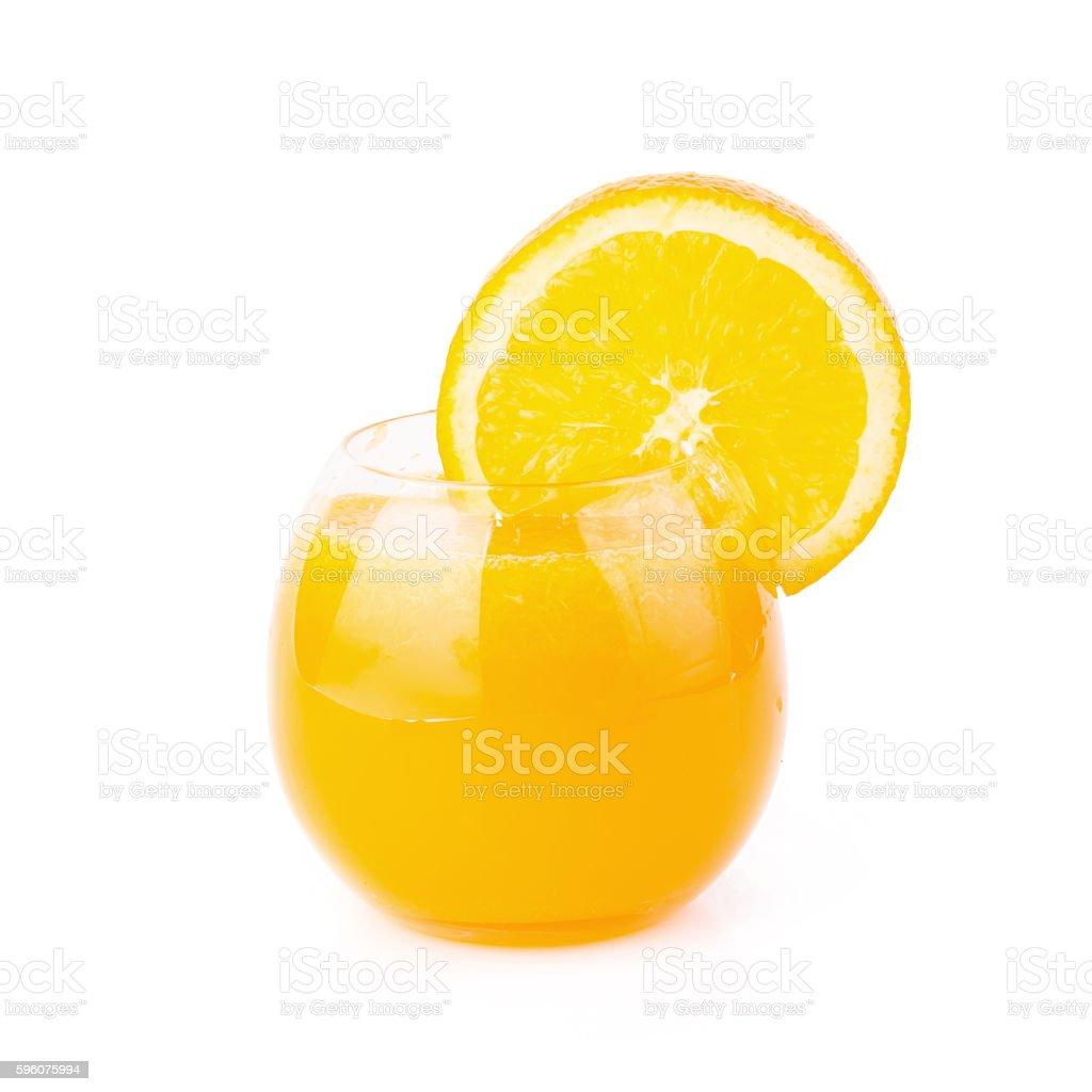 Orange juice and slices of orange isolated on white royalty-free stock photo