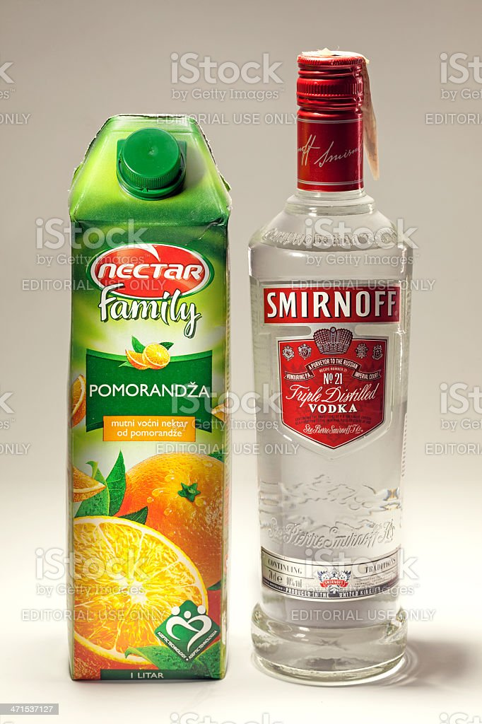 Orange Juice and Smirnoff Vodka stock photo
