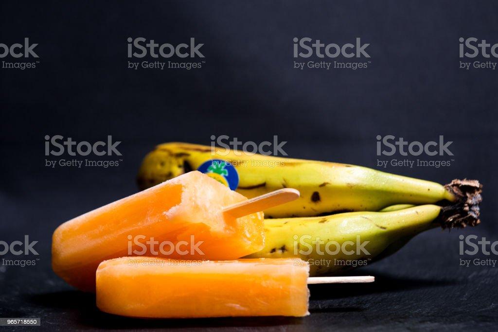 Orange juice ice cream popsicle - Royalty-free Banana Stock Photo