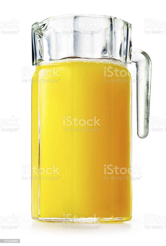 Orange juice in glass ang jug stock photo