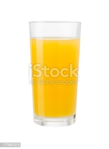 Orange juice in glass isolated on white with clipping path included