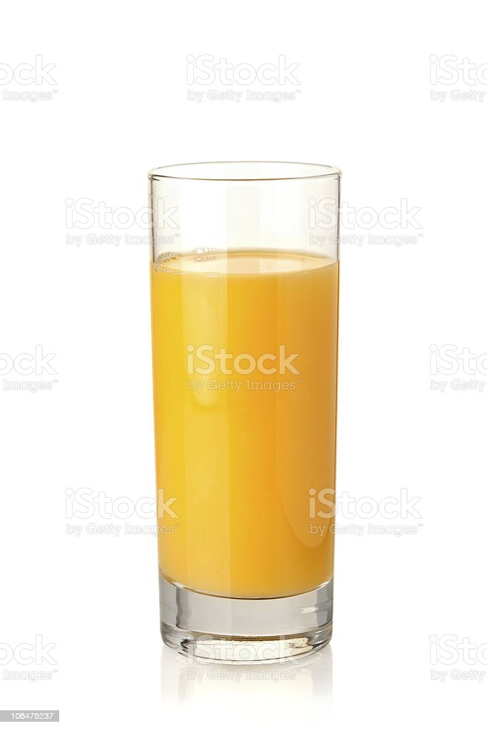 Orange juice in highball glass stock photo