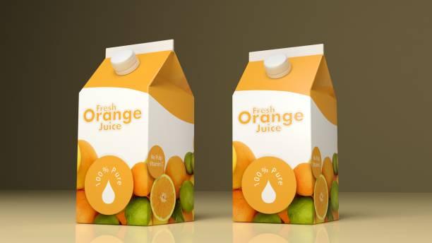 Emballages de jus d'orange de papier. illustration 3D - Photo