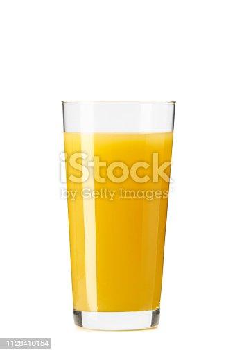 Orange juice squeezed with fresh fruit on a white background