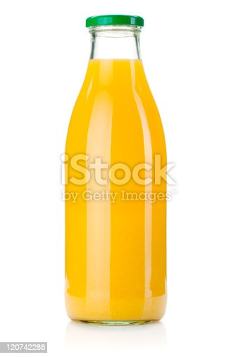 Orange juice glass bottle. Isolated on white background