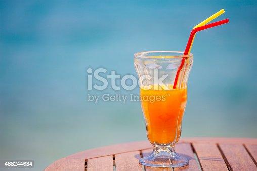 Orange juice on the table.