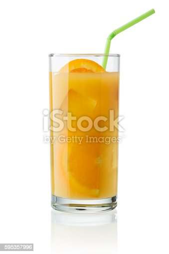 Glass of orange juice with slice of orange, ice cube and straw isolated on white -clipping path