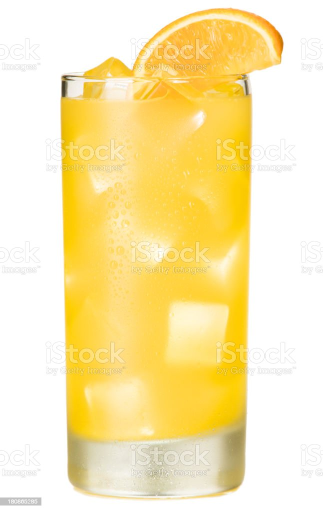 Orange Juice Screwdriver Cocktail Isolated on White Background stock photo