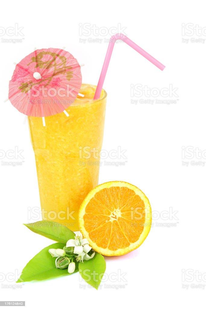 Orange juice with cocktail umbrella stock photo