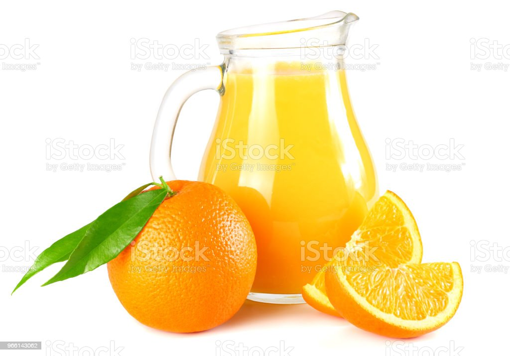 orange juice with orange and green leaf isolated on white background. juice in jug - Royalty-free Above Stock Photo
