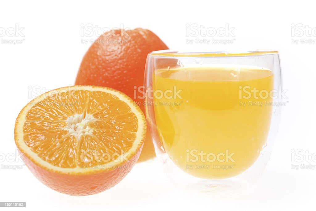 orange juice with oranges isolated on white royalty-free stock photo